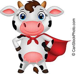 Superhero Kuh Cartoon posing.