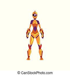 superhero, weibliche , raum, cyborg, roboter, abbildung, klage, kostüm, vektor, hintergrund, front, weißes, ansicht