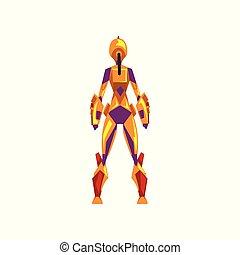 superhero, weibliche , raum, cyborg, roboter, abbildung, zurück, klage, kostüm, vektor, hintergrund, weißes, ansicht
