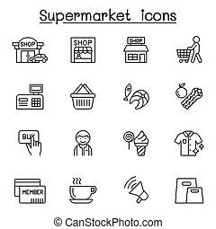 supermarkt, schlanke, satz, stil, linie, ikone