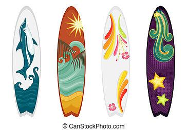Surfbretter sind vier