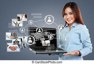 surfen, vernetzung, geschäftsfrau, laptop, virtuell, pc, anschluss, hintergrund, sozial, besitz