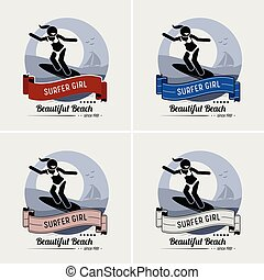 Surfer Girl surft Logo Design.