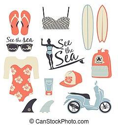 Surfer-Mädchen Retro-Vektorset.