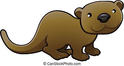 Sweet Otter Vektor Illustration
