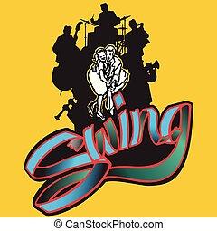 Swing Band Silhouette & Tänzer.