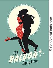 """Swing-Party Zeit: junge Paar Silhouette tanzen Schaukel """"Balboa"""" Stil."""