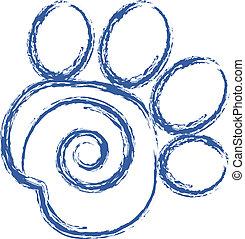 Swirly Pfotendruck-Logovektor