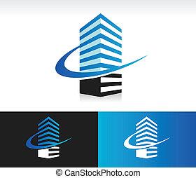 Swoosh modern building icon.