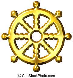 symbol, buddhismus, goldenes, dharma, 3d, rad