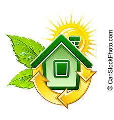 Symbol für ein ökologisches Haus mit Solarenergie