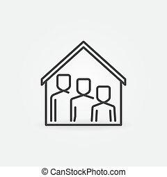symbol, familie, dach, icon., linie, haus, aufenthalt, daheim, vektor, unter