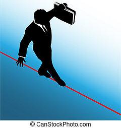 Symbol-Geschäftsmann geht auf Risiko-Strepplung
