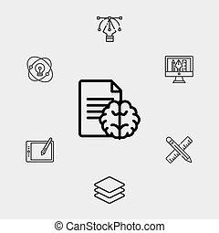 symbol, ikone, zeichen, vektor, gehirn