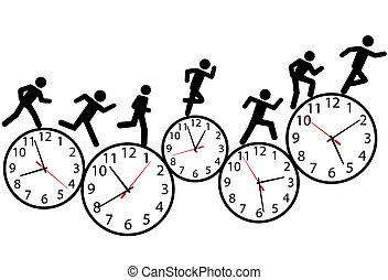 Symbol-Leute führen ein Rennen in der Zeit auf Uhren.