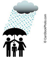 Symbol-Leute-Familie sicher unter Regenwolke