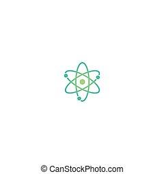symbol., linie, oder, chemie, elektron, atom, scheme., physik, icon., grün