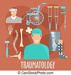 symbol, medizinische werkzeuge, chirurg, traumatology