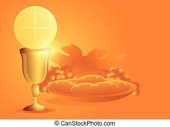symbol, trauben, kelch, eucharistie, bread
