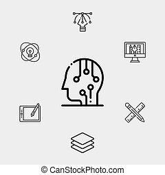 symbol, vektor, ikone, zeichen, gehirn