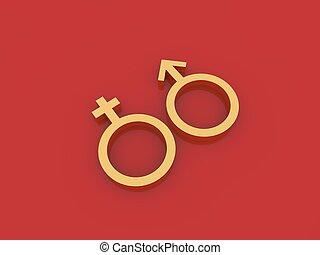 Symbol von Mann und Frau auf einem roten Hintergrund.