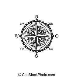 symbol, zeichen, weinlese, kompaß
