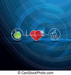 symbole, begriff, kardiologie, gesunde, hell, lebensunterhalt