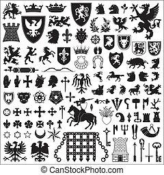 symbole, elemente, ritterwappen