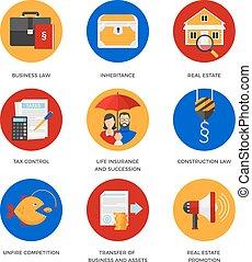 Symbole für juristische Dienstleistungen