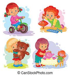 Symbole für kleine Mädchen, die mit Spielzeug spielen.