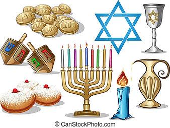 symbole, hanukkah, satz