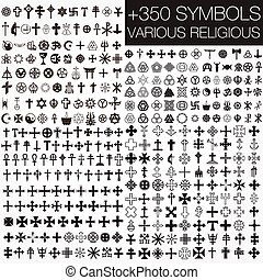 symbole, religiöses, verschieden, 350