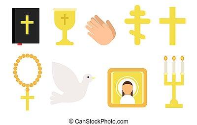 symbole, religion., vektor, verschieden, satz, illustration., christ