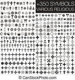 symbole, verschieden, 350, vektor, religio
