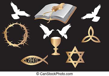 symbole, verschieden, religiöses