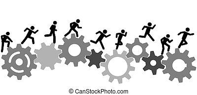 Symbolische Leute führen ein Rennen mit Industriegeräten