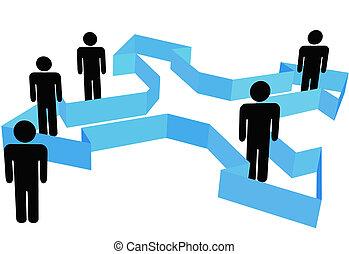 Symbolische Menschen in Organisationspfeile zeigen in neue Richtungen