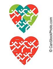 symbols., liebe, rennender , wir, herz