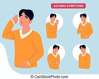 symptome, asthma, krankheit