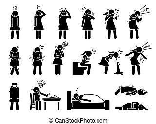 symptome, cliparts., krank, krankheit, virus, krank, grippe, zeichen & schilder, grippe, frau