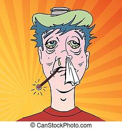 symptome, grippe, schrecklich, mann