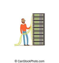 Systemadministrator, Serveradministrator, der mit Hardware-Ausrüstung von Rechenzentrum arbeitet, Server-Wartung unterstützt Vektor-Anzeigen.