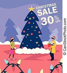 szene, geschenk, baum, weihnachten, paar