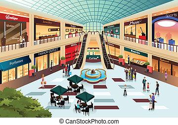 Szene im Einkaufszentrum.