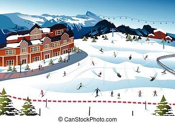Szene in einem Skigebiet.