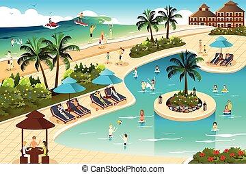 Szene in einem tropischen Resort.