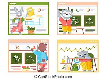 szenen, classroom., lustige tiere, schule, satz, students., sammlung, zurück, karikatur