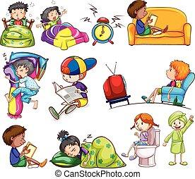 Tägliche Aktivitäten von Kindern.