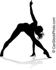 tänzer, silhouette, frauen