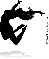 tänzer, silhouette, springende
